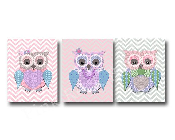 Hey, I found this really awesome Etsy listing at https://www.etsy.com/listing/213232414/pink-owl-family-nursery-decor-kids-room