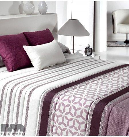 Couvre-lit matelassé jacquard Bis violet