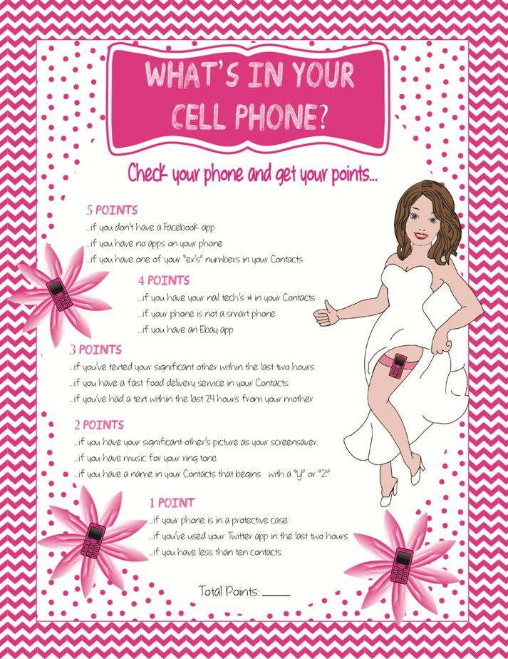 "Bridal Shower Game ""Whats in your Cell Phone"""