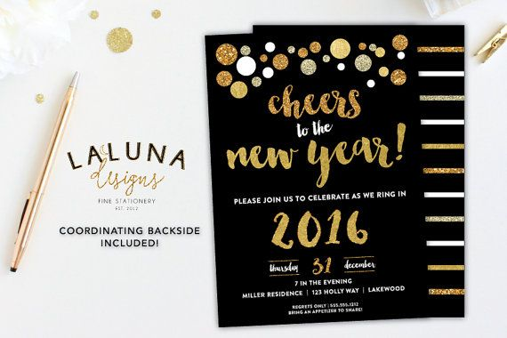 New Years Eve Invitation, New Years Eve Party,  New Years Eve Invites, New Years Invites, New Years Eve Printable, Gold Glitter, Gold Foil