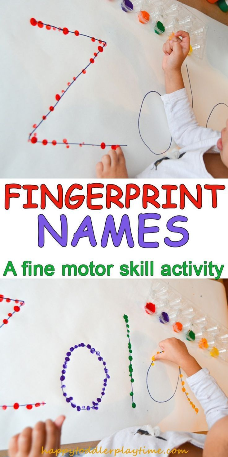 Here is a quick & easy toddler or preschooler activity! Decorating their name using their fingerprints! #toddleractivity #preschooleractivity #finemotorskills