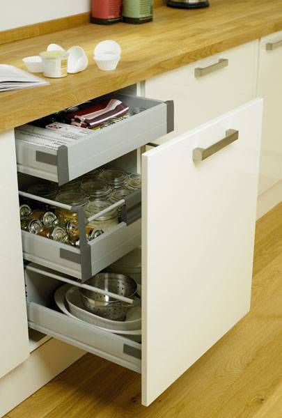 Internal soft close 3 drawer base unit storage solutions for Kitchen base unit shelf