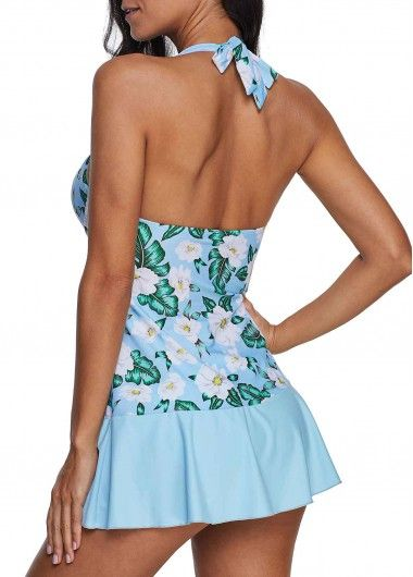 ac801e9cd5 Floral Print Bowknot Detail Swimdress and Panty | liligal.com - USD $28.71
