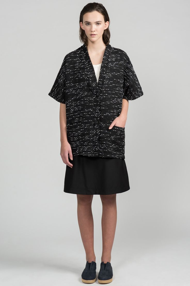 Hit Wrapper Cardi by Pillar.  Short sleeve kimono style cardigan. Made in Canada.