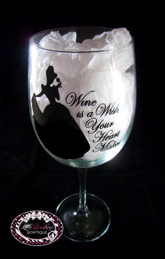 Wine is a Wish Your Heart Makes Wine Glass--Vinyl Wine Glass--LARGE Wine Glass--Birthday Gift--Ladies Wine Glass