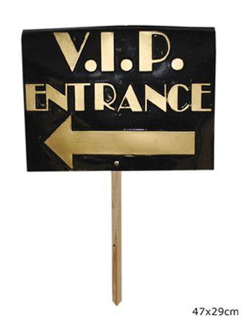 Bord V.I.P. entrance bij Fun-en-Feest.nl. Online V.I.P thema bestellen, levering uit voorraad. Bord V.I.P. entrance voor � 8.99.