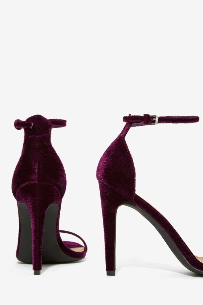 Nasty Gal Ivy Velvet Heel - Dark Romance | Dark Romance | Party Shop | Open Toe | Sequins & Glitter | Party Heels | Shoes