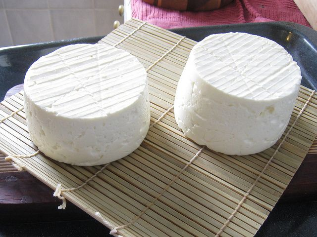DIY Camembert (step-by-step, seemingly easy instructions; has links to online purveyors from which you can by cultures and rennet; whole milk, cream, Flora Danica or Mesophilic Type B cheese culture, P. camemberti mold culture, rennet, salt)