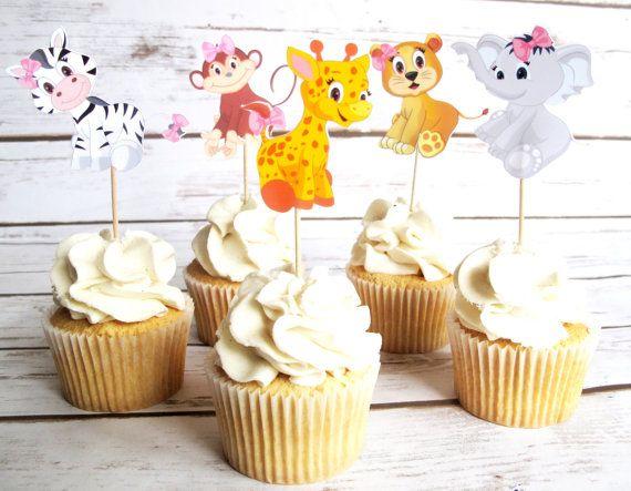 15 stel Baby roze Jungle dieren Cupcake, Cake, Toppers, Picks, Baby meisje, roze Baby Shower, Party Picks DOUBLE SIDED