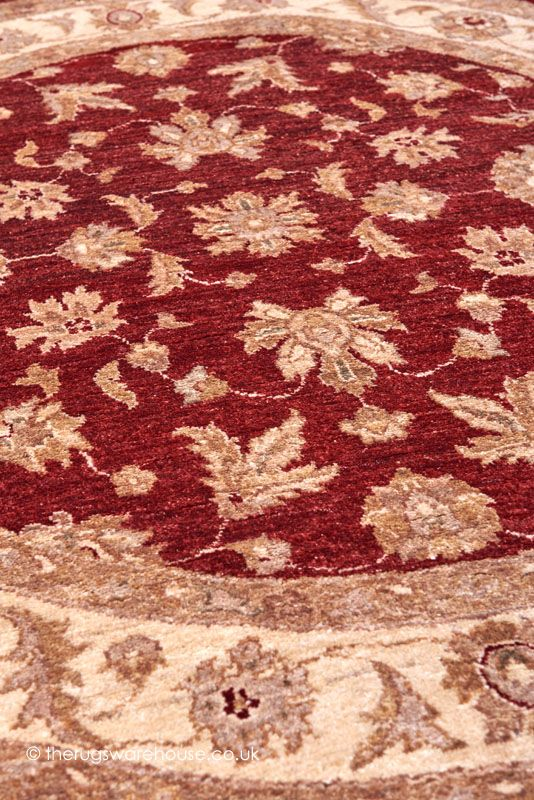 Ziegler Royal 818 Circle Rug (texture Close Up) (154cm (5ft Circle)), A  Traditional 100% Wool Hand Knotted Round Rug In Shades Of Red, Beige U0026  Brown ...