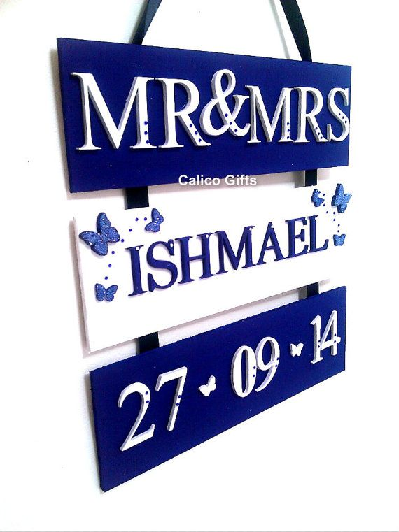 wedding plaque royal blue wedding decoration by CalicoBespokeGifts