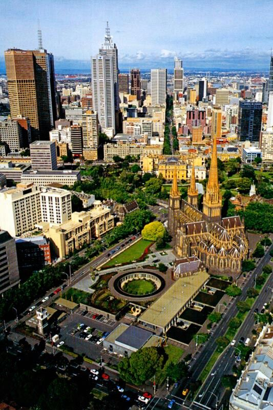 Melbourne with a view of St Patrick's Cathedral, Victoria, Australia