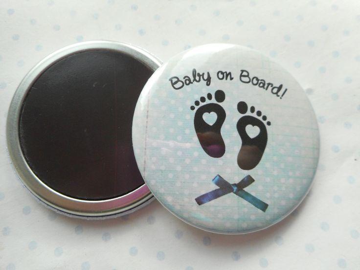 """Grand magnet 56 mm """"baby on board"""" 56 mm bleu, blanc, pois, bébé à bord - naissance : Accessoires de maison par miss-coopecoll"""