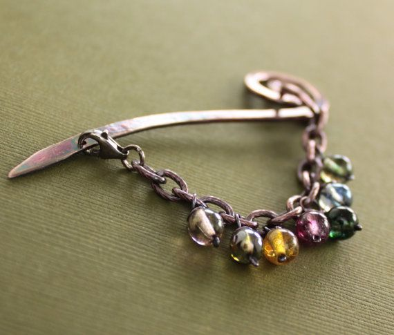 Shawl pin stick scarf pin with multicolored dangles by IngoDesign, $32.00