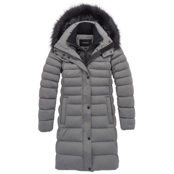 Andrew Marc Carly ($595) ❤ liked on Polyvore featuring outerwear, coats, heather grey, parkas, parka coats, fur-lined parkas, quilted parka, fur hooded coat and fur sleeve coat