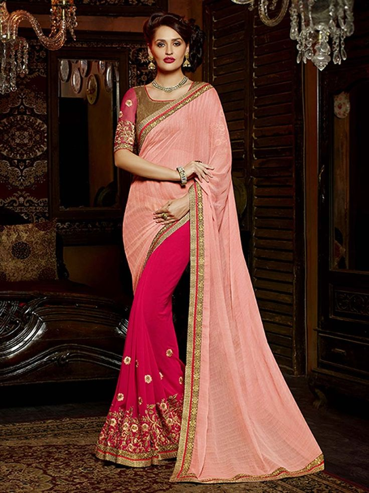 Resplendent outfit is rich and sensible for its beautiful looks.  Item Code; SANB2002 http://www.bharatplaza.com/new-arrivals/sarees.html