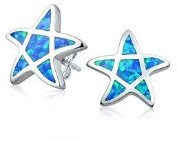 Bling Jewelry Simulated Blue Opal Nautical Starfish Animal Stud Earrings 925 Sterling Silver 12mm.