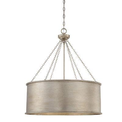 Mercer41 Eastleigh 6 Light Drum Pendant Finish: Silver Patina