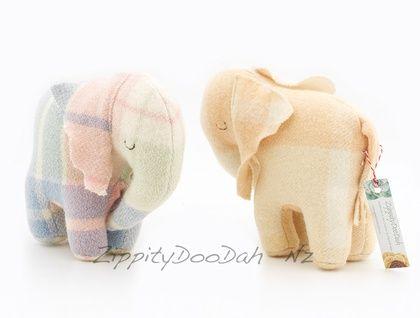 Vintage Blanket  Elephant Toy | Felt