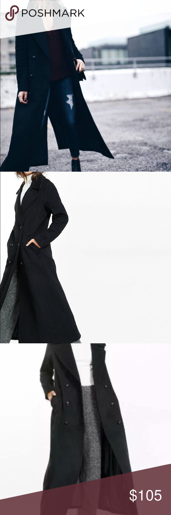 New express maxi wool blend coat black Xs small NEW WITH TAGS!!!...........$298 tags do have a line through it *** may have some small amount of dirt/dust from dragging on the floor since its so long***   A sturdy wool blend and bold maxi length define this coat. It's a stylish outer layer that will keep you warm and stylish for seasons to come.   Wide notched collar Double breasted button closure Recycled wool/Polyester/Other shell; Polyester lining Express Jackets & Coats