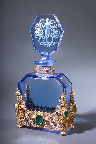 """HOFFMAN perfume bottle, circa 1920s, in blue crystal, in jeweled metal holder. Ht. 6"""""""
