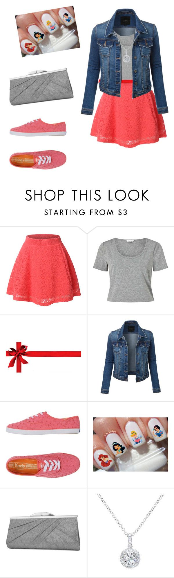 """""""Sensually Grey And Coral Pink Outfit"""" by missykeybuckley ❤ liked on Polyvore featuring LE3NO, Miss Selfridge, Keds, Disney, Jessica McClintock and EWA"""