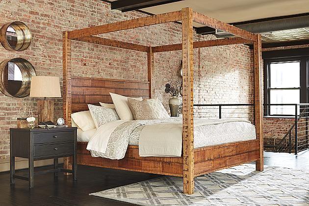 Rustic Brown Wesling Queen Poster Bed View 5 Rustic Bedroom Bed Canopy Bedroom