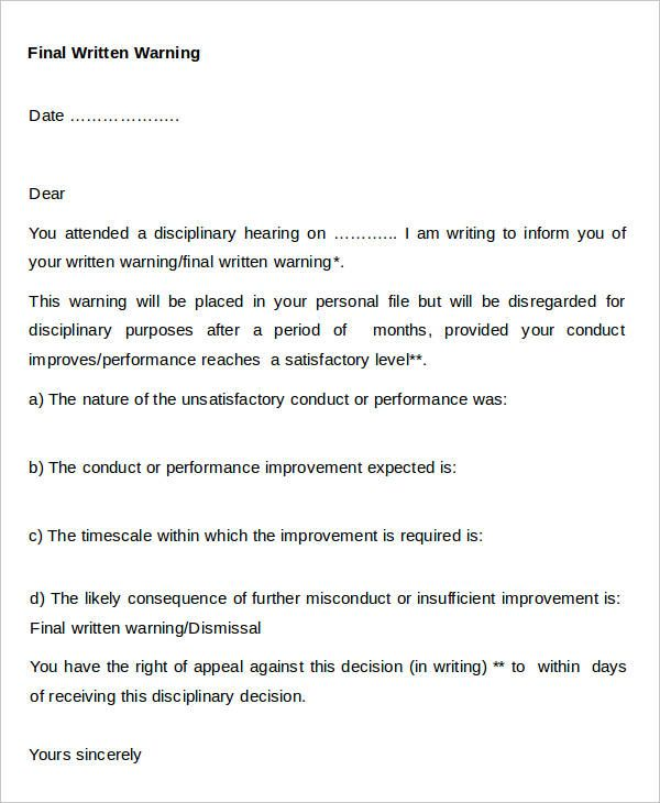 30 Warning Letter Templates Letter Templates Free Letter To