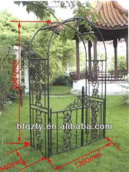 Ferro forjado pergola / Metal arco do jardim com banco / pérgola