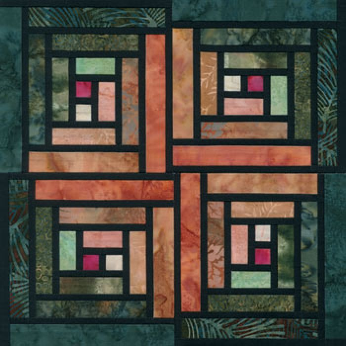 Stained Glass Log Cabin Quilt Block Pattern, Downloadable PDF File or Printed Copy.