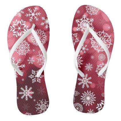 Snowflakes on a Valentine Background | Slippers - Saint Valentine's Day gift idea couple love girlfriend boyfriend design