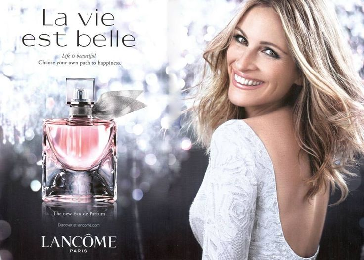 I LOVE that Lancome left Julia Roberts wrinkles untouched. She looks beautiful and more importantly like a real woman. | La vie est belle parfum by Lancome