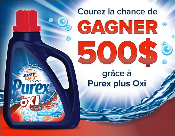 Enter to WIN $500 or a FREE bottle of Purex plus Oxi laundry detergent from Purex Canada!