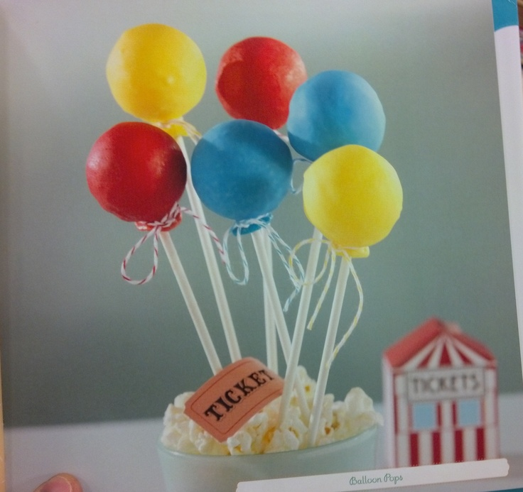 balloon cake pops - tie w/ ribbon for 'bunches' and stick in colored foam board or in dollar store vases w/ foam inside