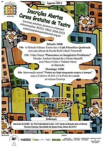 """Neste mês de férias estamos preparando um cantinho do Barracão para acolher as oficinas de teatro para jovens e adultos com o curso """"Teatro de Passagem"""" Curso gratuito de Teatro (A partir de 14 anos) Todas as segundas das 14h30 às 17h30 Início 20/08/2012 Informações: coletivo@almaambiental.org.br ou no endereço: Av. Profº João Batista Conti, 1271...<br /><a class=""""more-link"""" href=""""https://catracalivre.com.br/geral/agenda/barato/barracao-do-coletivo-alma/"""">Continue lendo »</a>"""