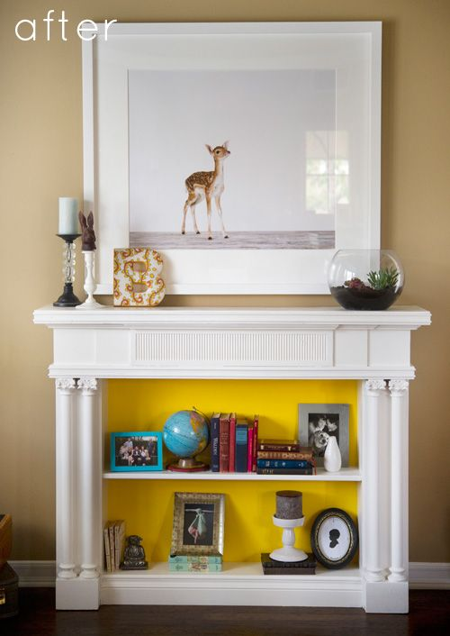 Mantle into a bookshelf?  GENIUS!