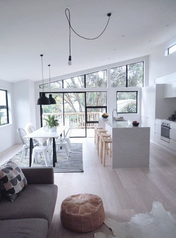 Industrial minimalist open plan kitchen, dining room and living room