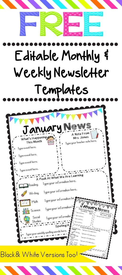 Free Editable Monthly and weekly Newsletter Templates
