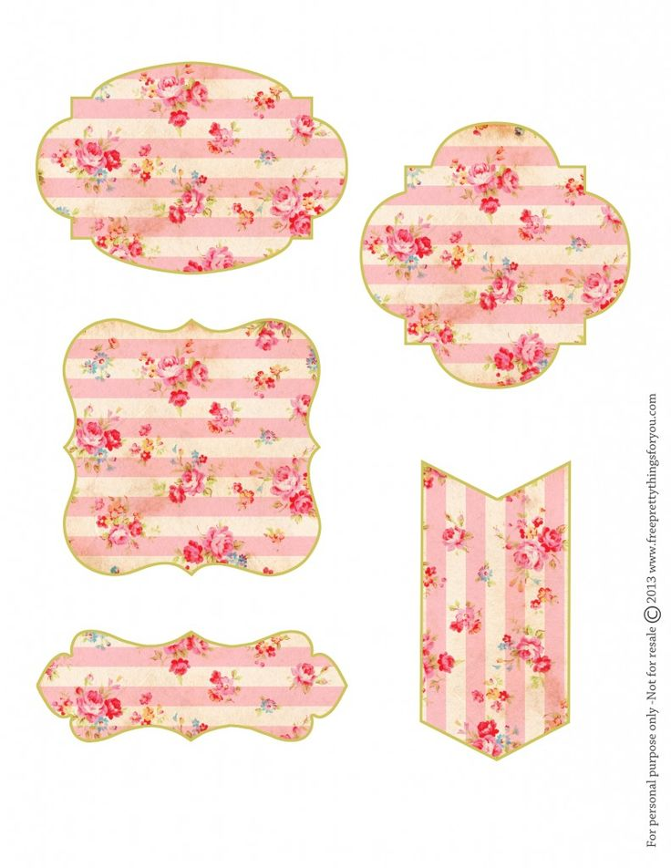 Free Shabby Floral Printable Tags...these are so lovely! Great for gift tags, labels, signs, cards, decorations, ephemera, frames, holidays, shabby chic, valentine, DIY, paper craft, vintage floral in pastel pinks reds & blues.