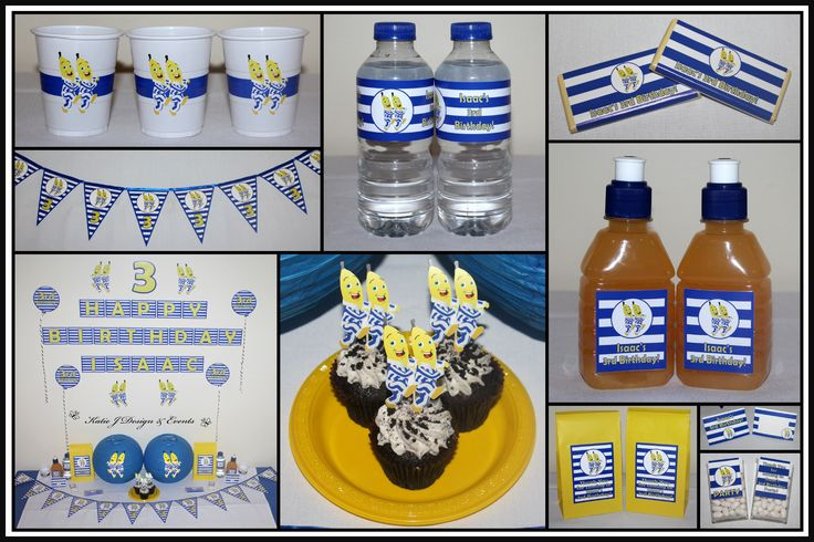 Bananas in Pyjamas Personalised Birthday Party Decorations Supplies Shop Online Australia Banners Bunting Wall Display Cupcake Toppers Chocolate Wrappers Juice Water Pop Top Labels Posters Lanterns Invites Cup Stickers Ideas Inspiration Cake Table Katie J Design and Events Baby Shower