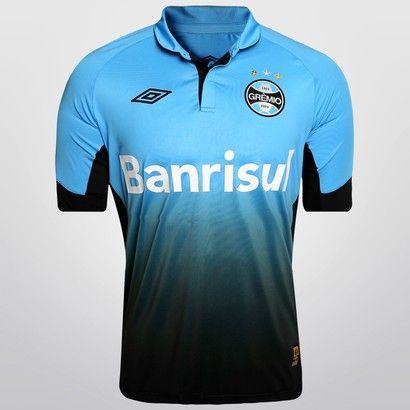 Camisa Umbro Grêmio III 2015 s/nº - Azul Claro+Preto