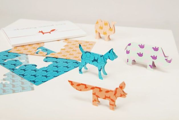 Cut out stand up animal cards. Inside 15 different animals. Perfect gift idea for kids, creativity boosting toy, paper toy, origami - a unique product via en.dawanda.com
