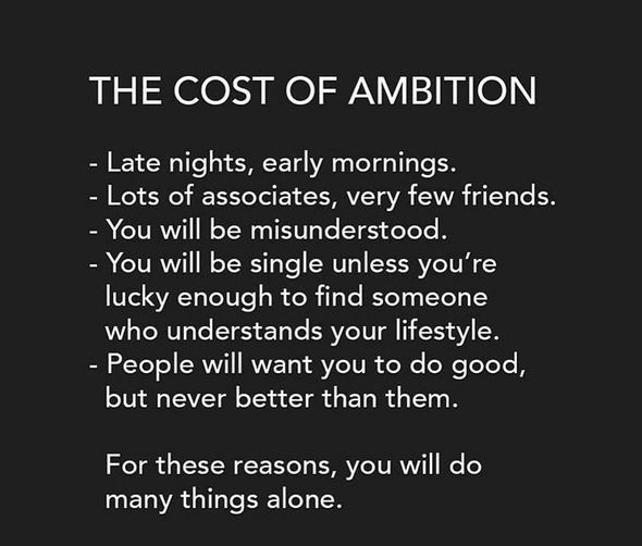 The cost of ambition - Absolutely spot on!