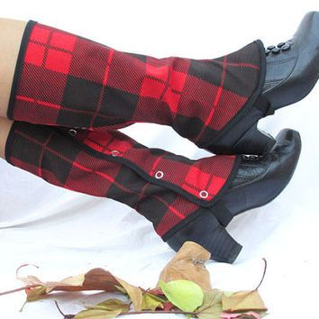 Tartan plaid spats for women and men gaiters punk style