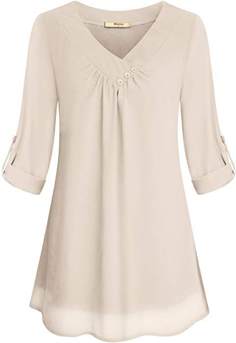 fd365334e2b Miusey Chiffon Clothing Women, Ladies Simple V Neck Roll Sleeve Front  Pleated Light Material Summer Fashion Comfy Snug Lovely Blouses Shirt Top  Beige M at ...