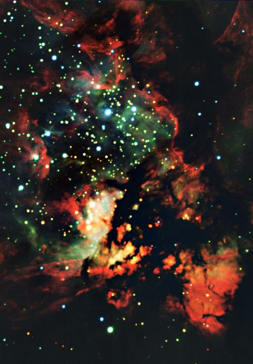 Located 9,000 light-years away, NGC 3576 is a gigantic region of glowing gas about 100 light-years across, where stars are currently forming. The intense radiation and winds from the massive stars are shredding the clouds from which they form, creating dramatic scenery.