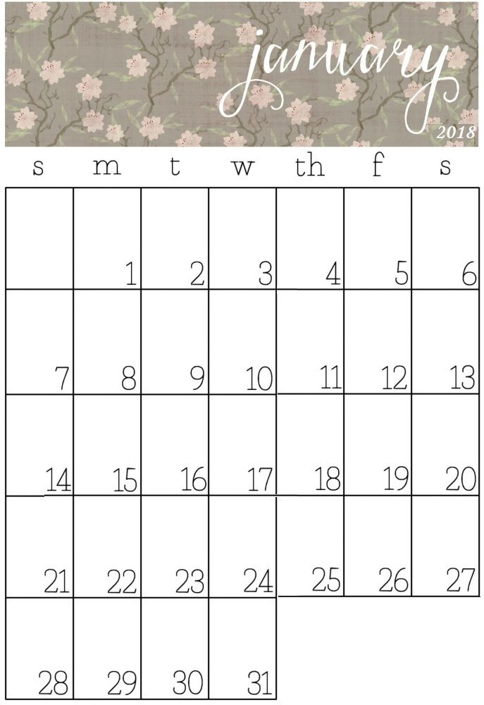 graphic relating to Pretty Calendars referred to as Lovable January Calendars - No cost Down load