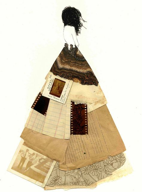 I love the collaged textures in her arty skirt. #art
