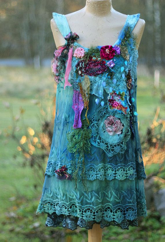 Bohemian garden- – -unique bohemian shabby chic tunic, embroidered and beaded de…