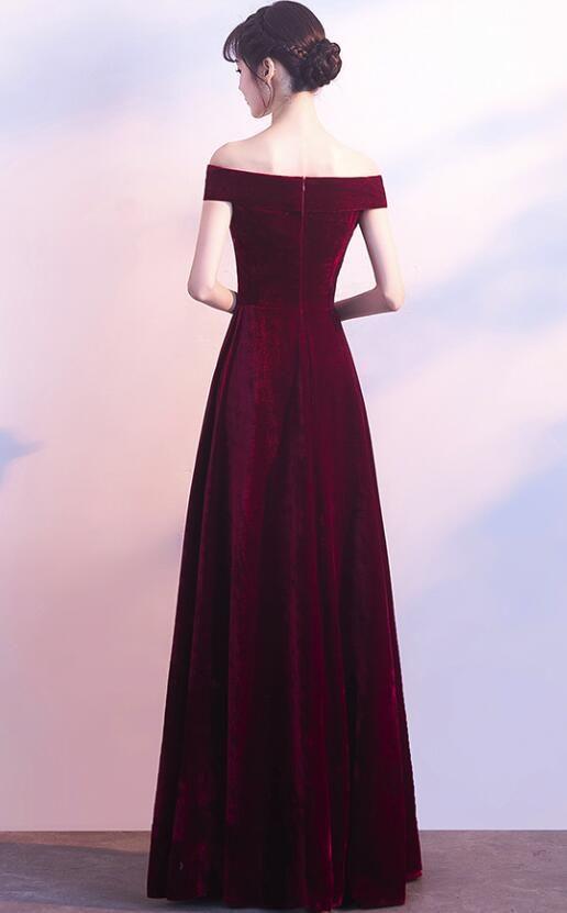 Wine Red Off Shoulder Velvet Long Wedding Party Dress, Charming